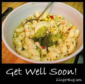 Chicken Soup Get Well Soon Glitter Graphic Greeting