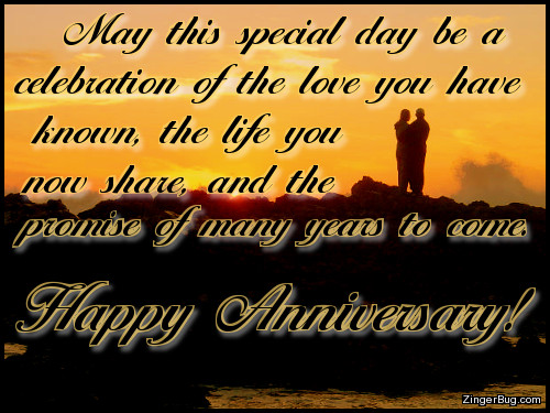 Love Life And Promise Happy Anniversary Glitter Graphic