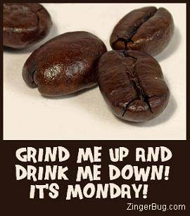 Funny Comment featuring a photo of coffee beans with the comment: Grind me up and Drink me Down it's Monday!